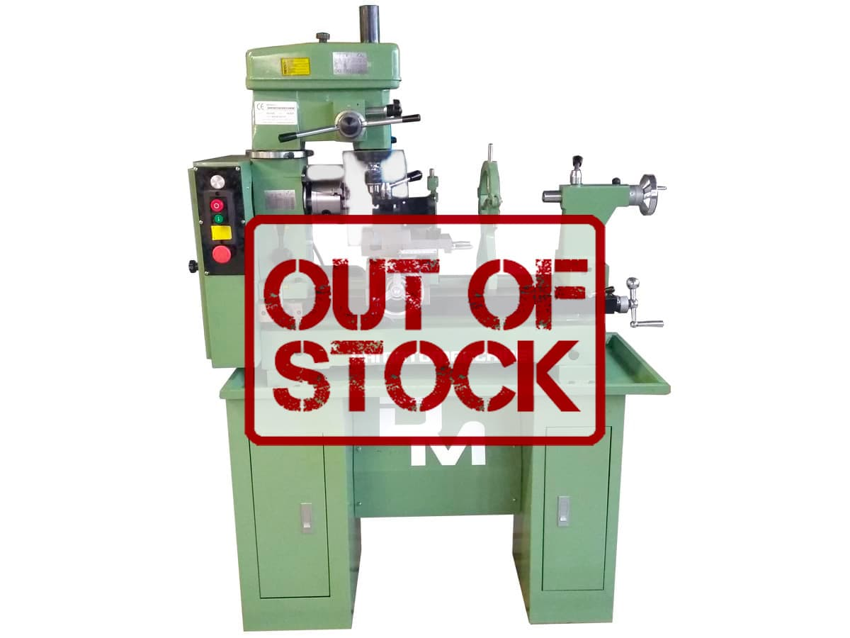 Combined lathe-milling machine with 500 mm distance between centers, maximum turning diameter of 420 mm, 360 ° revolving milling head and 750 W single-phase motor