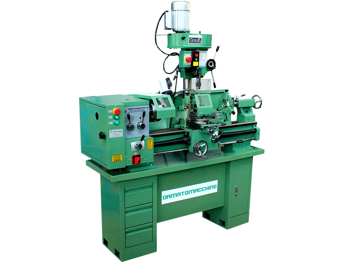 Machine tool consisting of a 320x800 mm lathe, independent milling machine with speed from 400 to 1640 rpm powered by a 750 W motor